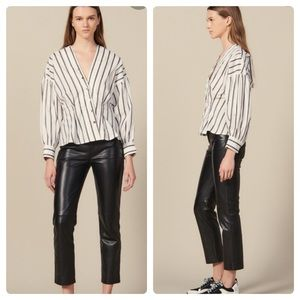 NEW SANDRO PARIS Naelle Blouse Stripes Top $340